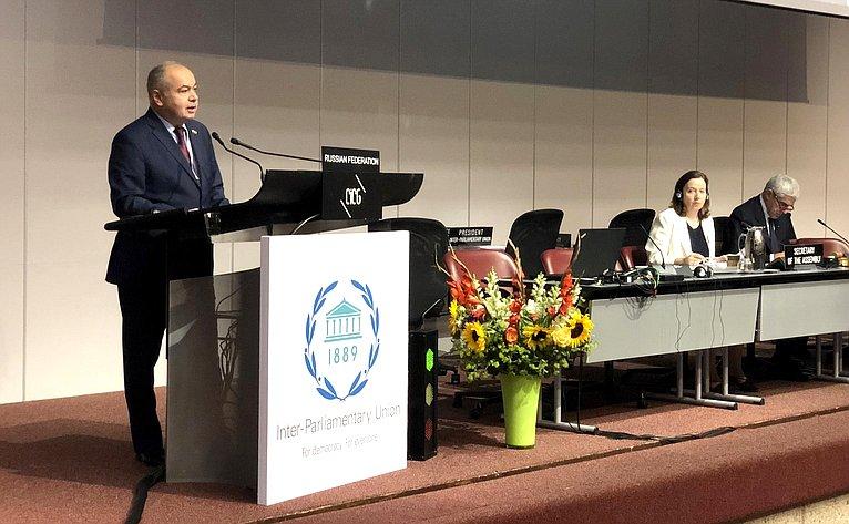 Ильяс Умаханов выступил перед делегатами 139-й Ассамблее Межпарламентского союза
