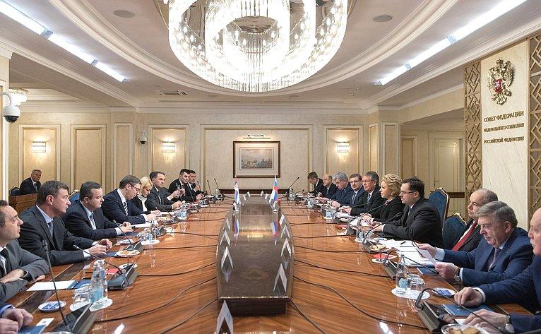 Встреча Председателя СФ В. Матвиенко сПрезидентом Сербии А. Вучичем