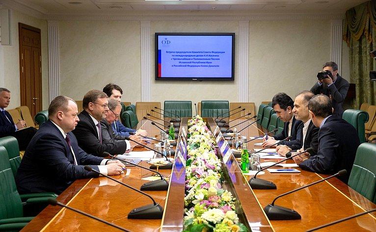Встреча Константина Косачева сЧрезвычайным иПолномочным Послом Исламской Республики Иран вРФ Казем Джалали