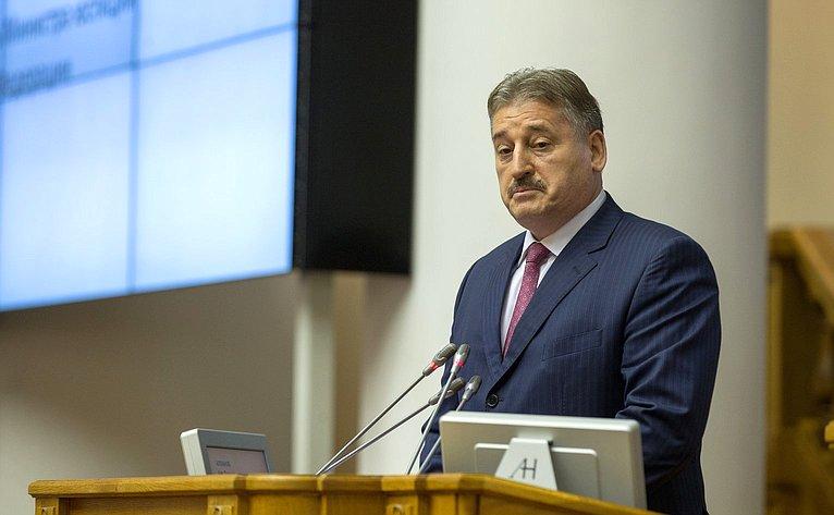 Выступление Заместителя Министра юстиции Российской Федерации Алу Алханова назаседании Совета законодателей
