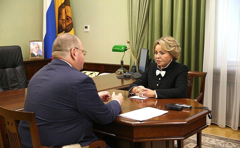 Председатель СФ Валентина Матвиенко провела встречу сврио губернатора Пензенской области Олегом Мельниченко