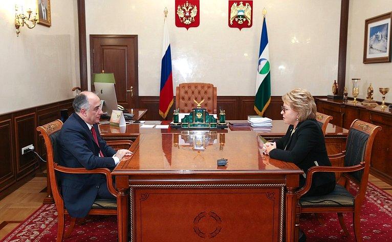 Валентина Матвиенко провела встречу сглавой Кабардино-Балкарии Юрием Коковым