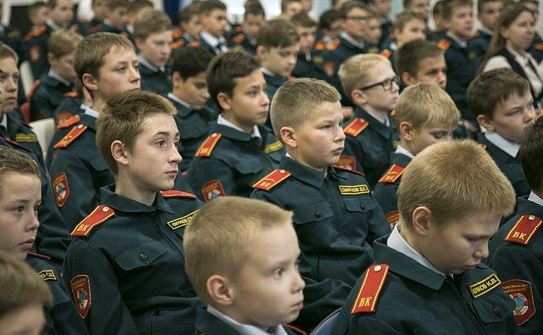 Ю. Воробьев провел урок патриотического воспитания вКадетской школе «Корабелы Прионежья»