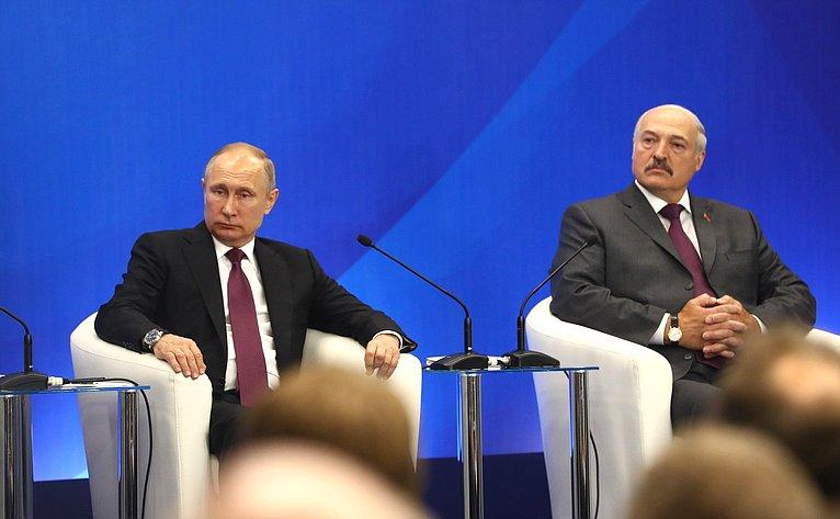 Президент Российской Федерации В.Путин иПрезидент Республики БеларусьА.Лукашенко