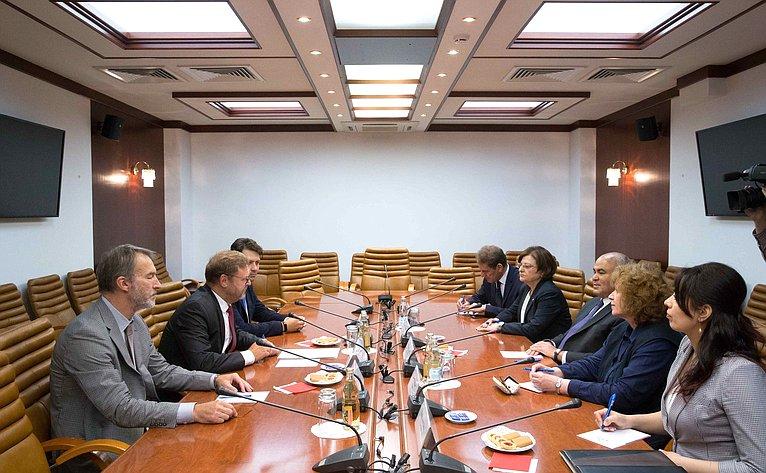 Встреча председателя Комитета СФ помеждународным делам Константина Косачева сзаместителем Министра иностранных дел Республики Ирак М.Салехом