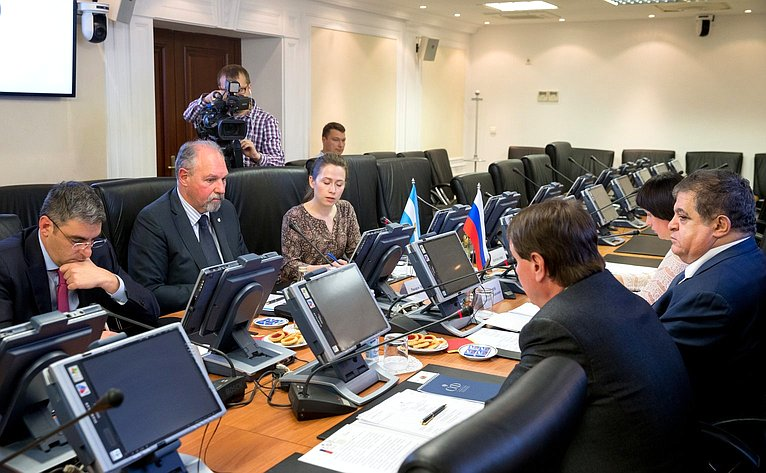 Встреча первого заместителя председателя Комитета СФ помеждународным делам Владимира Джабарова сПослом Аргентинской Республики Рикардо Эрнесто Лагорио
