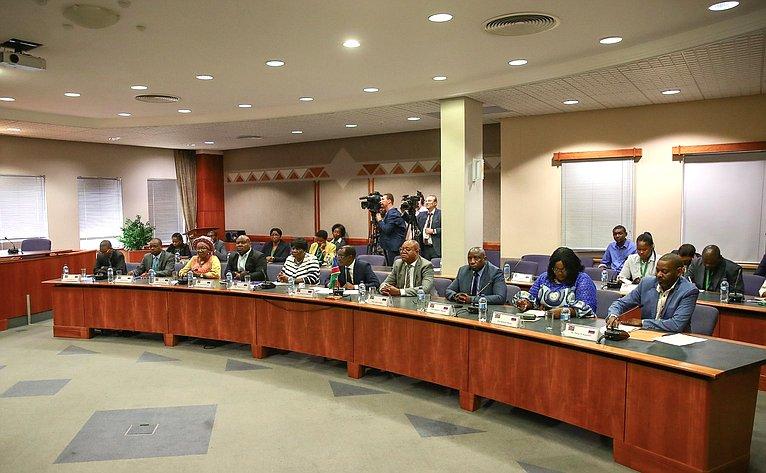 Встреча В.Матвиенко сПредседателем Национального Совета Республики Намибии Бернардом Сонгой Сибалатани