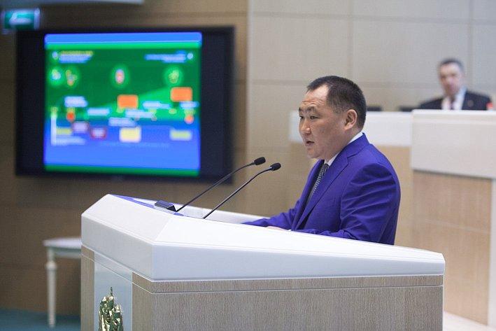 Выступление главы Республики Тыва Шолбан Кара-оола на350-м заседании Совета Федерации. Март 2014