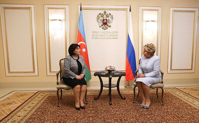 Встреча Валентины Матвиенко сПредседателем Милли Меджлиса Азербайджанской Республики Сахибой Гафаровой