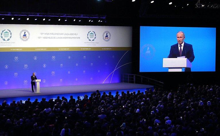 В. Путин наоткрытии 137-й Ассамблеи МПС