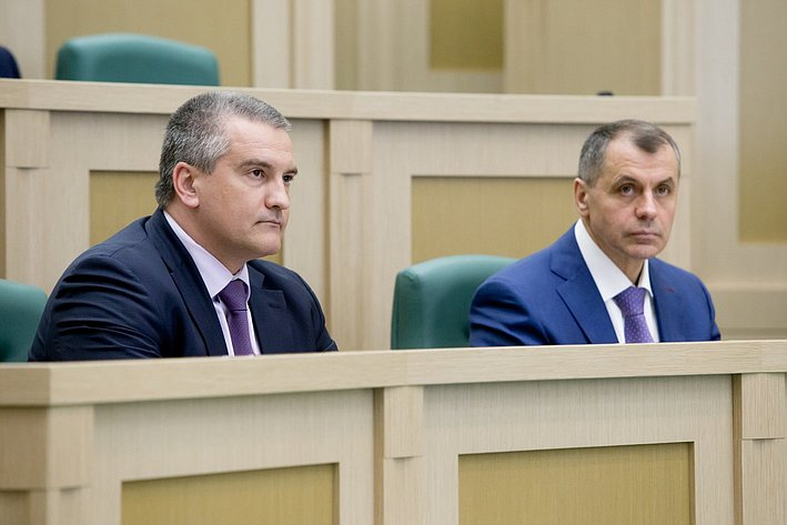 370-е заседание Совета Федерации С. АКсенов и В. Константинов