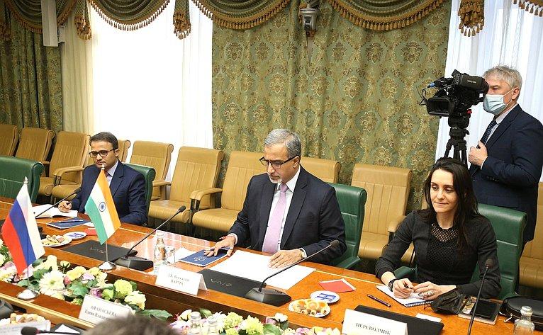 Встреча Елены Афанасьевой сЧрезвычайным иПолномочным Послом Республики Индии вРФ Д.Б.Венкатешем Вармой