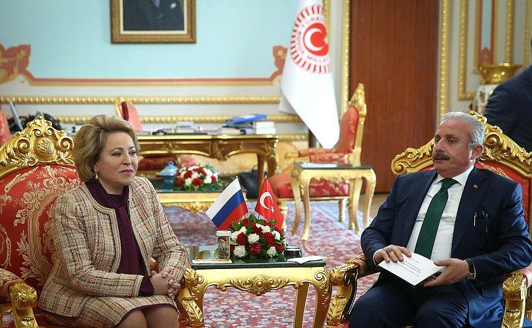 Встреча Председателя Совета Федерации В. Матвиенко сПредседателем Великого Национального Собрания Турции М. Шентопом