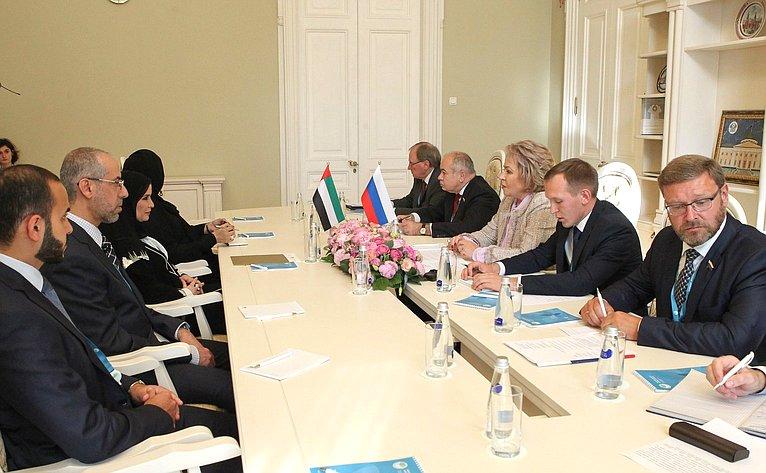 Валентина Матвиенко провела встречу сПредседателем Федерального национального совета ОАЭ Амаль Аль-Кубейси