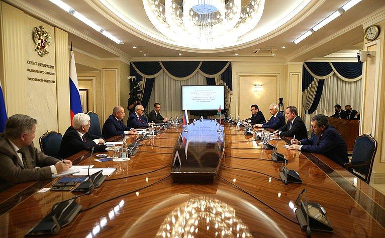 Заместитель Председателя Совета Федерации Ильяс Умаханов провел встречу сМинистром иностранных дел Азербайджанской Республики Джейхуном Байрамовым