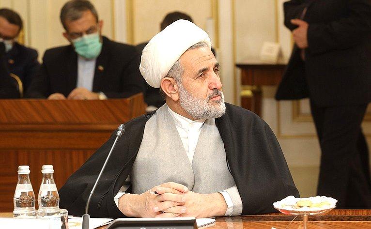 Встреча Валентины Матвиенко сПредседателем Собрания Исламского Совета Исламской Республики Иран Мохаммадом Багером Галибафом