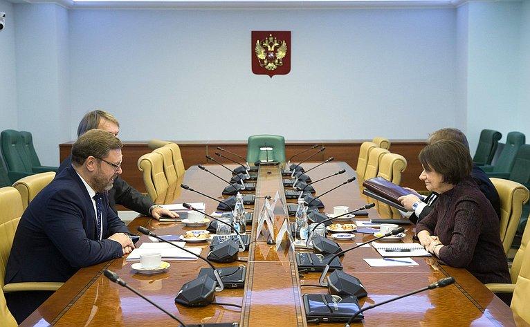 Встреча К.Косачева сзаместителем Генерального секретаря ООН пополитическим вопросам Розмари А.Дикарло