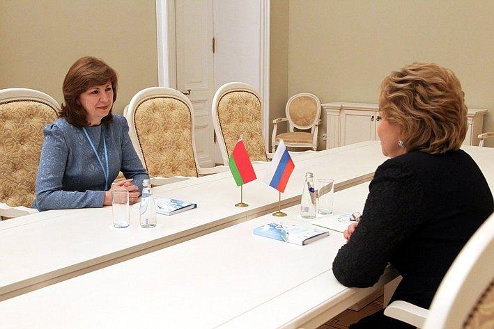 Встреча В. Матвиенко с делегацией Беларуси