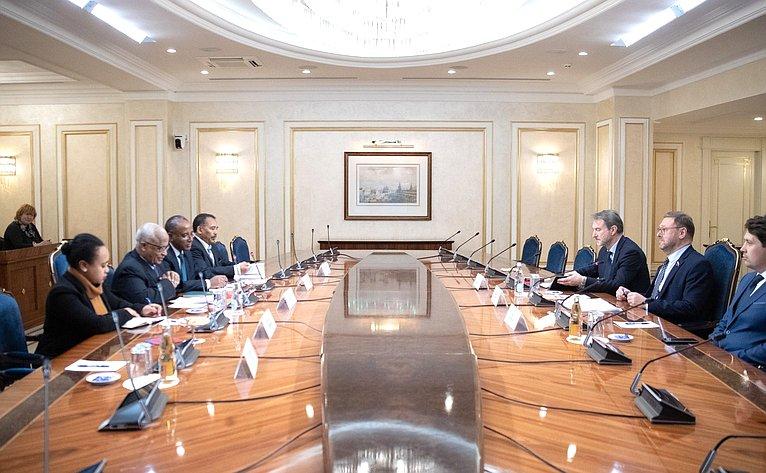 Встреча К. Косачева сделегацией Посольства Республики Эфиопии воглаве сЧрезвычайным иПолномочным послом Алемайеху Тегену