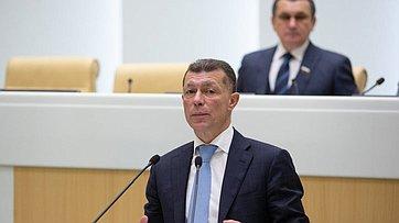 Врамках «Правительственного часа» вСФ выступил Министр труда исоциальной защиты М.Топилин
