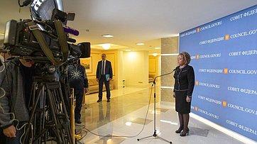 Брифинг В.Матвиенко поитогам 445-го заседания Совета Федерации
