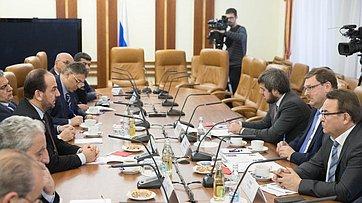 Встреча К.Косачева сглавой Высшего комитета Сирии попереговорам Насером аль-Харири