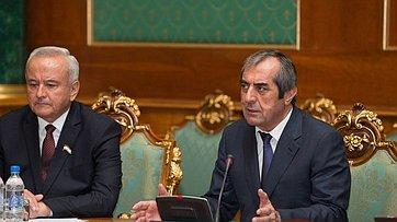 Встреча В. Матвиенко сглавой верхней палаты Парламента Таджикистана М.Убайдуллоевым