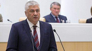 Министр внутренних дел В.Колокольцев выступил на432-м заседании СФ