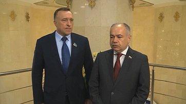 И. Умаханов иС. Громов подвели итоги заседания Комиссии посотрудничеству между Советом Федерации иСенатом Казахстана