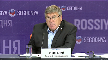 Валерий Рязанский подвел итоги работы Комитета СФ посоциальной политике ввесеннюю сессию 2016года впресс-центре МИА «Россия сегодня»
