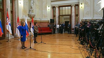Брифинг В. Матвиенко поитогам первого дня официального визита делегации СФ вСербию