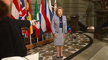 Брифинг В. Матвиенко поитогам визита делегации Совета Федерации вШвейцарию