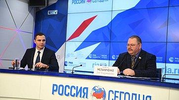 Пресс-конференция О. Мельниченко, посвященная итогам официального визита делегации верхней палаты российского парламента вКНДР