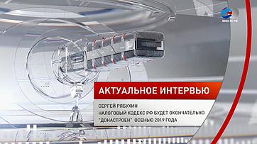С.Рябухин: Налоговый кодекс РФ будет окончательно «донастроен» осенью 2019года