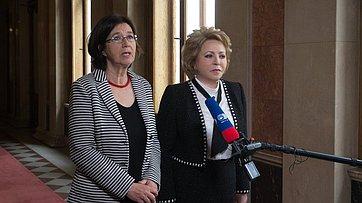 Брифинг В. Матвиенко иПредседателя ПА ОБСЕ К.Муттонен поитогам двусторонней встречи