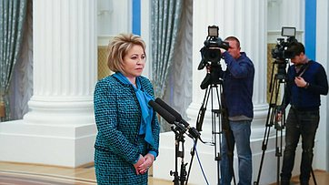Брифинг В.Матвиенко поитогам первого заседания Совета при Президенте России пореализации госполитики всфере защиты семьи идетей