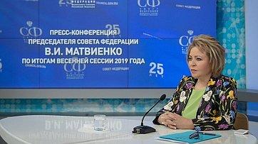 Пресс-конференция Председателя СФ В.Матвиенко поитогам весенней сессии Совета Федерации. Запись трансляции от25июля 2019года