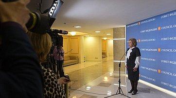 Брифинг В. Матвиенко поитогам 434-го заседания Совета Федерации
