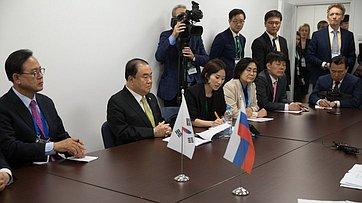 Встреча В. Матвиенко сглавой Национального собрания Республики Корея Мун Хи Саном