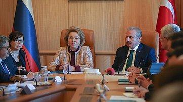 Выступление В.Матвиенко навстрече сПредседателем Великого Национального Собрания Турции Мустафой Шентопом
