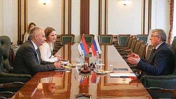 Встреча Валерия Рязанского спредседателем Комитета Народной скупщины Республики Сербии поделам Косово иМетохии, председателем группы дружбы сРФ Милованом Дрецун