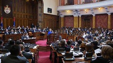 Выступление Председателя СФ В.Матвиенко наЧетырнадцатом внеочередном пленарном заседании Народной скупщины Республики Сербии