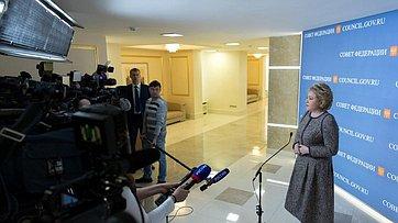 Брифинг В. Матвиенко поитогам 431-го заседания Совета Федерации
