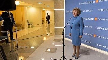 Брифинг В. Матвиенко поитогам 419-го заседания Совета Федерации