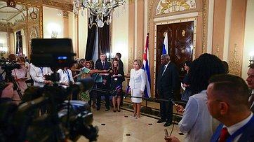 В.Матвиенко овстрече сПредседателем Национальной ассамблеи народной власти иГосударственного Совета Республики Куба Эстебаном Ласо Эрнандесом