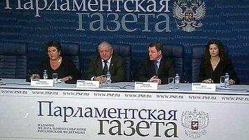 Любовь Глебова и Владимир Фёдоров приняли участие в видеомосте Москва — Санкт-Петербург в пресс-центре «Парламентской газеты»