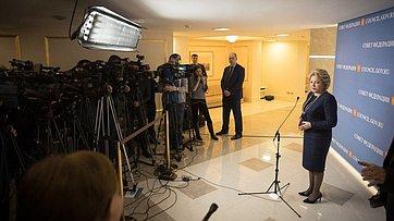Брифинг В. Матвиенко поитогам 425-го заседания Совета Федерации