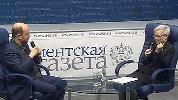 Людмила Бокова провела видеоинтервью ссоветником Президента России поИнтернету Германом Клименко впресс-центре «Парламентской газеты»
