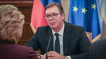 Встреча Председателя СФ В.Матвиенко сПрезидентом Республики Сербии А.Вучичем