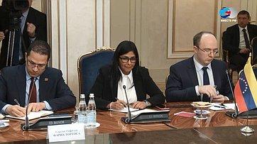 Встреча В.Матвиенко сИсполнительным вице-президентом Боливарианской Республики Венесуэла Д.Родригес. Запись трансляции от3марта 2019года